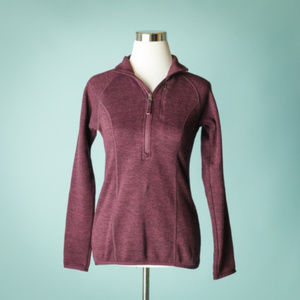 Lucy S Maroon 1/4 Zip Marled Sweater Jacket